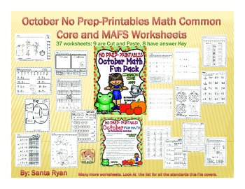 October Apples Pumpkin NO PREP Printables Math Common Core and MAFS PACKET