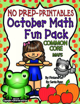 October NO PREP Printables Math Common Core and MAFS PACKET