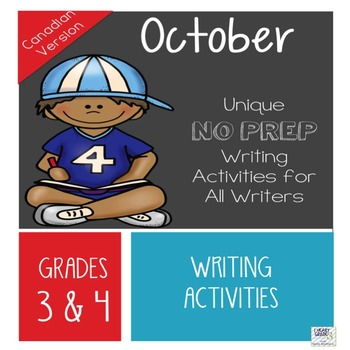 October NO PREP Unique Writing Activities - Canadian Version