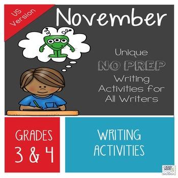 November NO PREP Unique Writing Activities - US Version