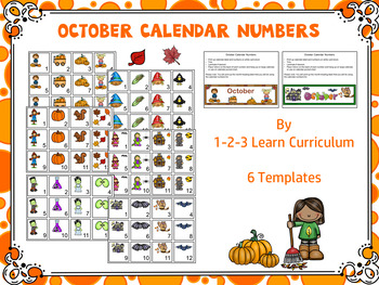 October Name Tempates and Calendar Numbers