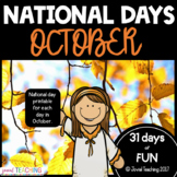 October National Days Pages- a month of FUN! Not just Halloween!