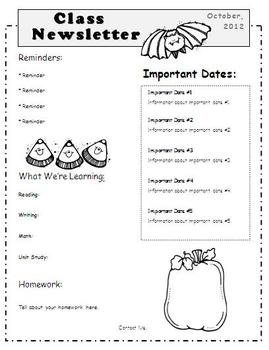 october newsletter template by elementary education resources tpt