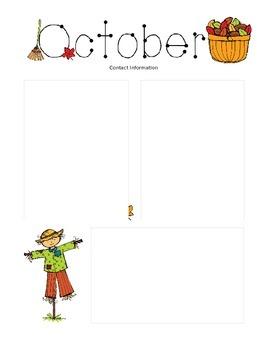 october newsletter template by krista s kindergarten tpt
