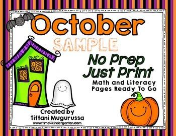 October No Prep Just Print Sample Pack