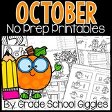 October No Prep Kindergarten Math & Literacy Packet