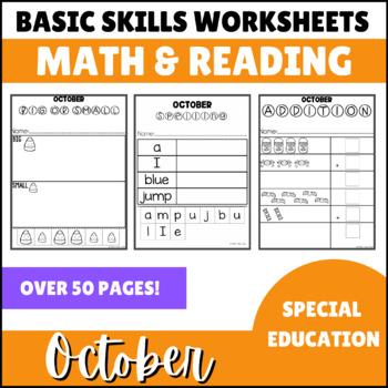 October No Prep Math Basic Skills Unit for Special Ed Classrooms