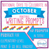 October No Prep National Days Writing Prompts