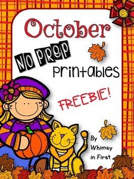 October No Prep Printables FREEBIE