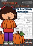 October No Prep Printables for Preschool