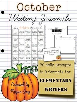 October No Prep Writing Journal for Elementary Writers