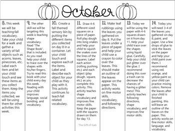 October Non-Verbal Homework Calendar