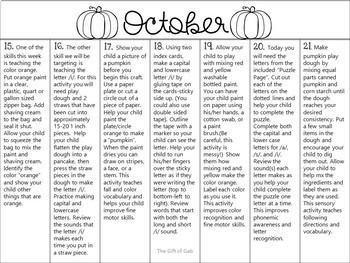 October Speech Therapy Non-Verbal Homework Calendar