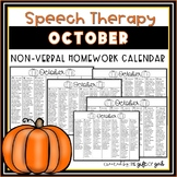 October Non-Verbal Homework Calendar