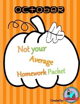 October Not Your Average Homework Packet