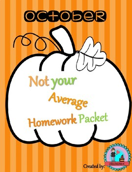 October Not Your Average Homework Packet