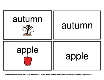 October/ November Functional Spelling Boardmaker Picture Cards for SPED