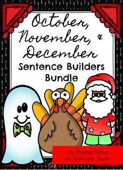 October November Thanksgiving December Sentence Builders Bundle - 60 pages!