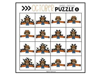 October Number Sense Math Puzzles