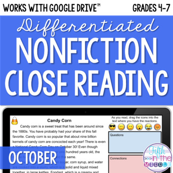 October ONLINE Differentiated Nonfiction Close Reading Texts and Questions