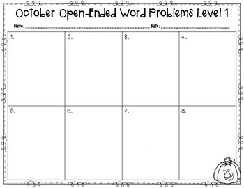 October Open-Ended Word Problems