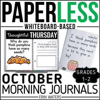 October Paperless 1st & 2nd Grade Morning Work {Whiteboard-based & EDITABLE}