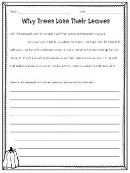 October Paragraph Editing Freebie for Grades 3-5