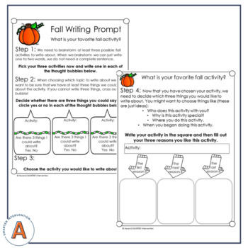 October Paragraph Writing Prompts (Expository & Narrative)
