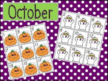 October Pattern Calendar Cards