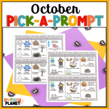 October writing prompts with spelling supports and choices October Pick a Prompt
