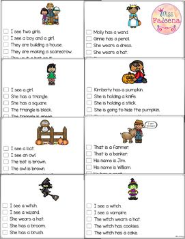 October Picture Comprehension Cards and Worksheets