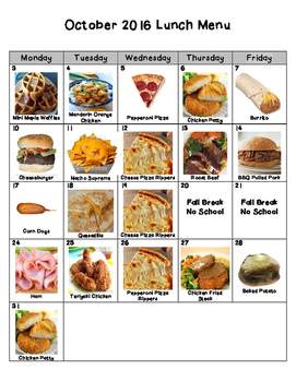 October Picture Lunch Menu for Nebo School District