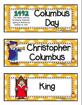 October Picture Word Cards K-3