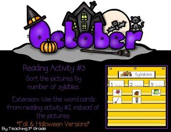 October- Pocket Chart Activities