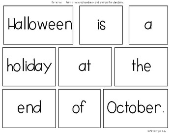 October Mixed up Sentences - Reading, Writing, and Sentence Building Activities