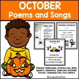 October Poems and Songs for Poetry Unit (Printable)