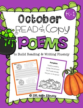 October Poems for Building Reading Fluency & Writing Stamina (K-1)