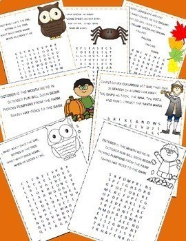 October Poetry, Word Searches, Fall Theme, With Original Poetry, Fall Activities