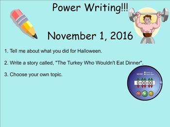 November Power Writing Prompts on SmartNotebook