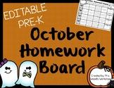 October Pre-K Homework Board (Editable)
