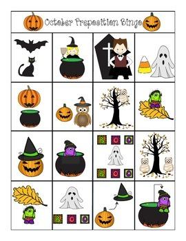 October Preposition Bingo