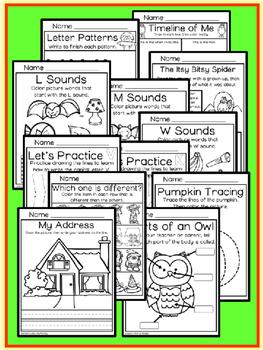 October Preschool Printable Packet NO PREP -Math Literacy Social Studies Science