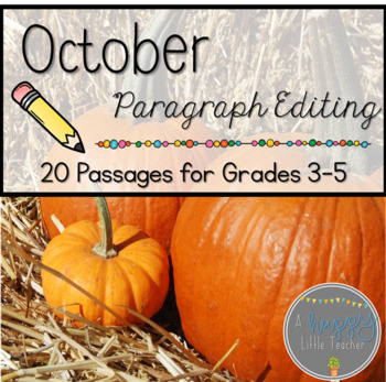 October Print & Go Editing Paragraphs: 20 Passages for Grades 3-5