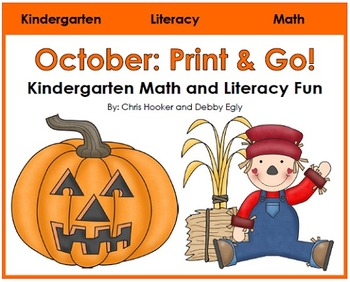 October Print and Go: Math and Literacy Activities for Kindergarten