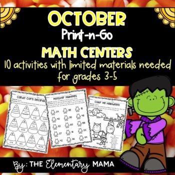 October Print-n-Go Math Centers