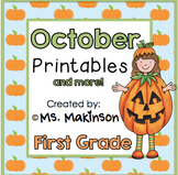 October Printables - First Grade Literacy, Math, and Science