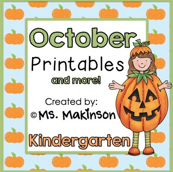 October Printables - Kindergarten Literacy, Math, and Science
