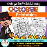 October NO PREP - Math & Literacy Printables (Kindergarten)