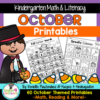 October NO PREP - Math & Literacy Printables (Kindergarten)