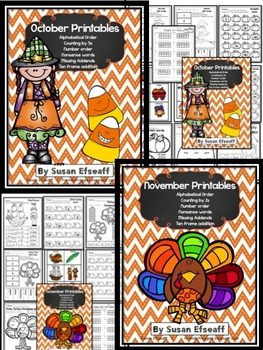October and November Themed Printables - Math and Word Work - Bundle